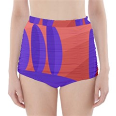 Purple And Orange Landscape High Waisted Bikini Bottoms