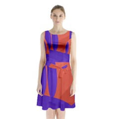 Purple And Orange Landscape Sleeveless Chiffon Waist Tie Dress