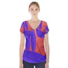 Purple And Orange Landscape Short Sleeve Front Detail Top