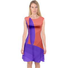 Purple And Orange Landscape Capsleeve Midi Dress
