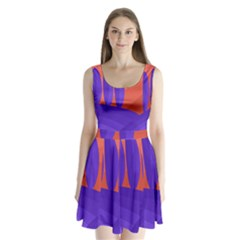 Purple And Orange Landscape Split Back Mini Dress