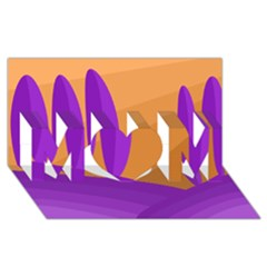 Orange and purple landscape MOM 3D Greeting Card (8x4)