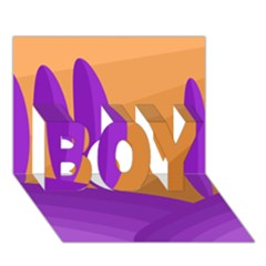Orange and purple landscape BOY 3D Greeting Card (7x5)