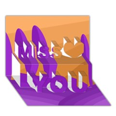 Orange and purple landscape Miss You 3D Greeting Card (7x5)