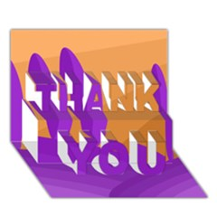 Orange and purple landscape THANK YOU 3D Greeting Card (7x5)