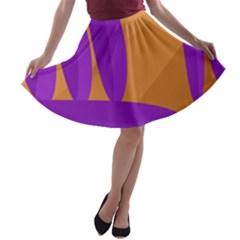 Orange and purple landscape A-line Skater Skirt