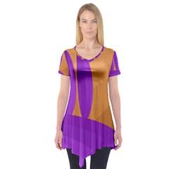 Orange And Purple Landscape Short Sleeve Tunic