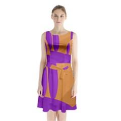 Orange and purple landscape Sleeveless Chiffon Waist Tie Dress