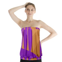 Orange and purple landscape Strapless Top