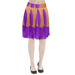 Orange And Purple Landscape Pleated Skirt