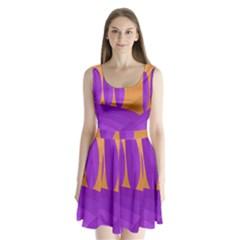 Orange And Purple Landscape Split Back Mini Dress