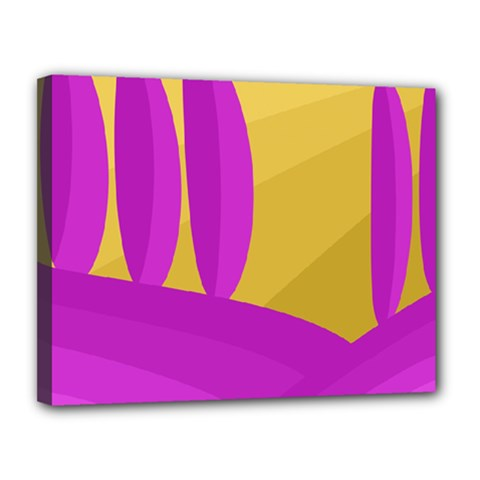 Yellow and magenta landscape Canvas 14  x 11