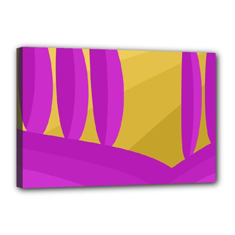Yellow and magenta landscape Canvas 18  x 12