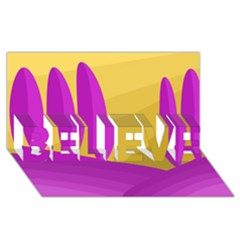 Yellow and magenta landscape BELIEVE 3D Greeting Card (8x4)