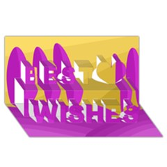 Yellow and magenta landscape Best Wish 3D Greeting Card (8x4)