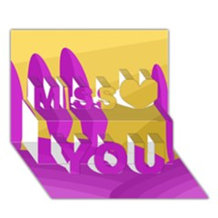 Yellow and magenta landscape Miss You 3D Greeting Card (7x5)