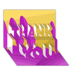 Yellow and magenta landscape THANK YOU 3D Greeting Card (7x5)