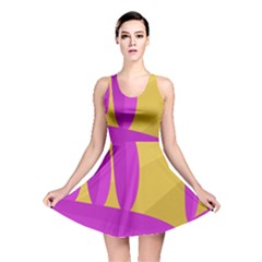 Yellow and magenta landscape Reversible Skater Dress