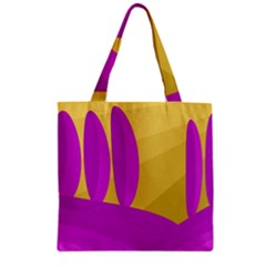 Yellow and magenta landscape Zipper Grocery Tote Bag