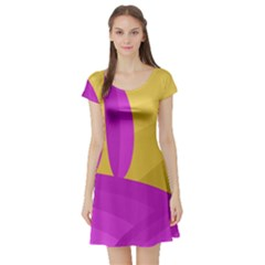 Yellow and magenta landscape Short Sleeve Skater Dress