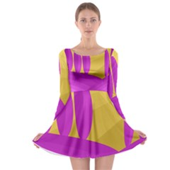 Yellow and magenta landscape Long Sleeve Skater Dress
