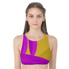 Yellow and magenta landscape Tank Bikini Top