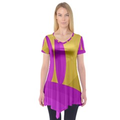 Yellow And Magenta Landscape Short Sleeve Tunic