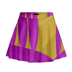 Yellow and magenta landscape Mini Flare Skirt