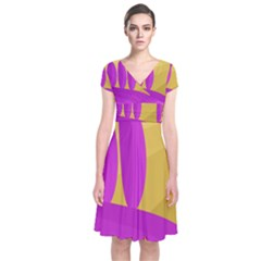 Yellow and magenta landscape Short Sleeve Front Wrap Dress