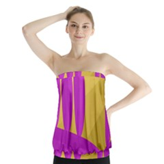 Yellow And Magenta Landscape Strapless Top