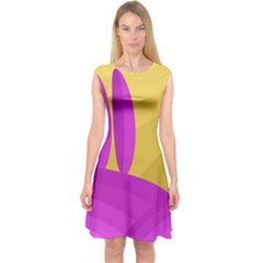 Yellow and magenta landscape Capsleeve Midi Dress