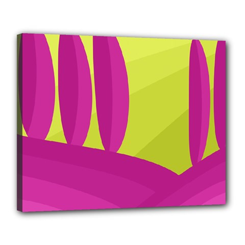 Yellow and pink landscape Canvas 20  x 16