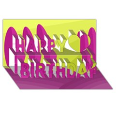 Yellow and pink landscape Happy Birthday 3D Greeting Card (8x4)