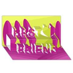 Yellow and pink landscape Best Friends 3D Greeting Card (8x4)