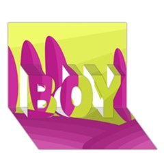 Yellow and pink landscape BOY 3D Greeting Card (7x5)