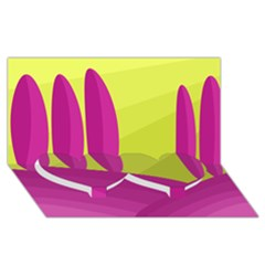 Yellow and pink landscape Twin Heart Bottom 3D Greeting Card (8x4)