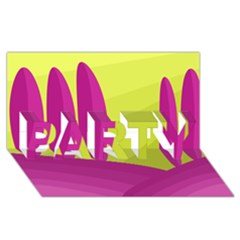 Yellow and pink landscape PARTY 3D Greeting Card (8x4)