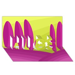 Yellow and pink landscape HUGS 3D Greeting Card (8x4)