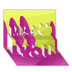 Yellow and pink landscape Miss You 3D Greeting Card (7x5)