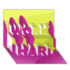 Yellow and pink landscape WORK HARD 3D Greeting Card (7x5)