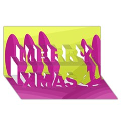 Yellow and pink landscape Merry Xmas 3D Greeting Card (8x4)
