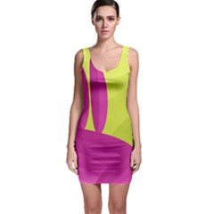 Yellow and pink landscape Sleeveless Bodycon Dress