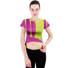 Yellow and pink landscape Crew Neck Crop Top