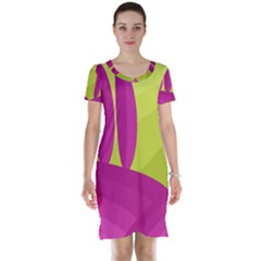 Yellow and pink landscape Short Sleeve Nightdress