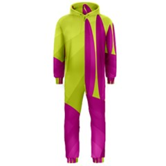 Yellow and pink landscape Hooded Jumpsuit (Men)