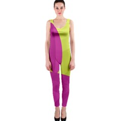 Yellow and pink landscape OnePiece Catsuit