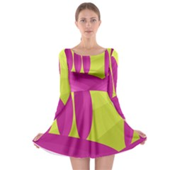 Yellow and pink landscape Long Sleeve Skater Dress
