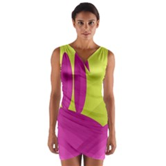 Yellow and pink landscape Wrap Front Bodycon Dress