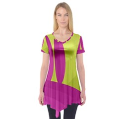 Yellow And Pink Landscape Short Sleeve Tunic