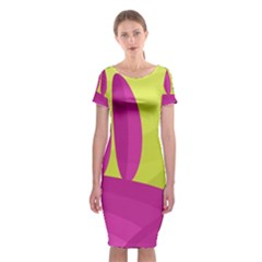Yellow and pink landscape Classic Short Sleeve Midi Dress